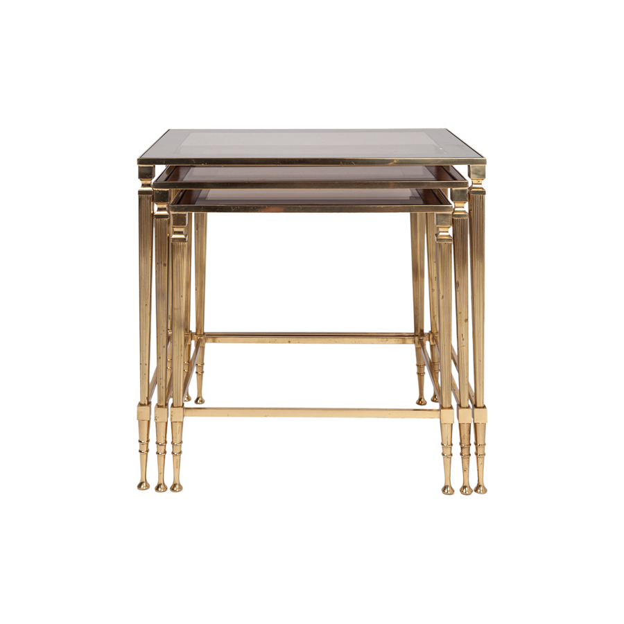 Neoclassical Bass Nesting Tables with Rose Gold Glass - Set of 3