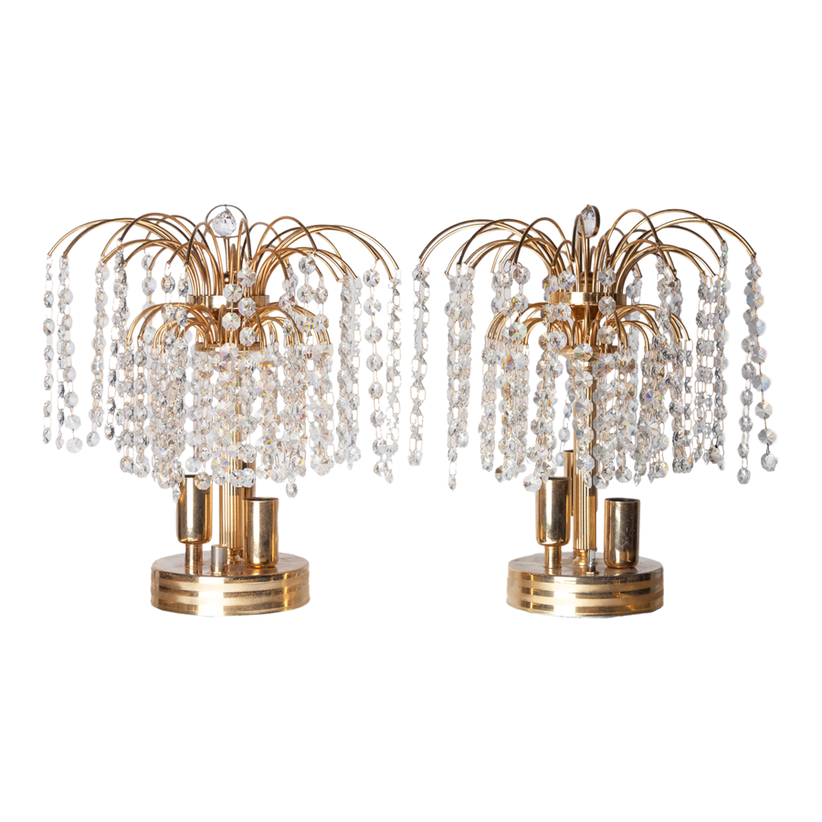 Crystal & Brass Fountain Table Lamps by Maison Bakalawits