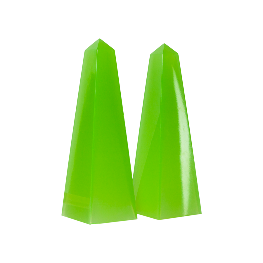 Chartreuse Italian Opaline Obelisks - Set of 2
