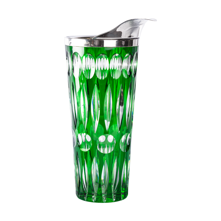 Val St. Lambert Green Cut Crystal Cocktail Mixer and Glasses - Set of 6