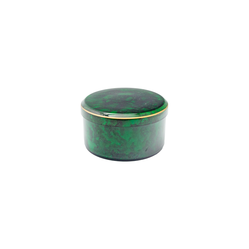 Japanese Faux Malachite Round Box