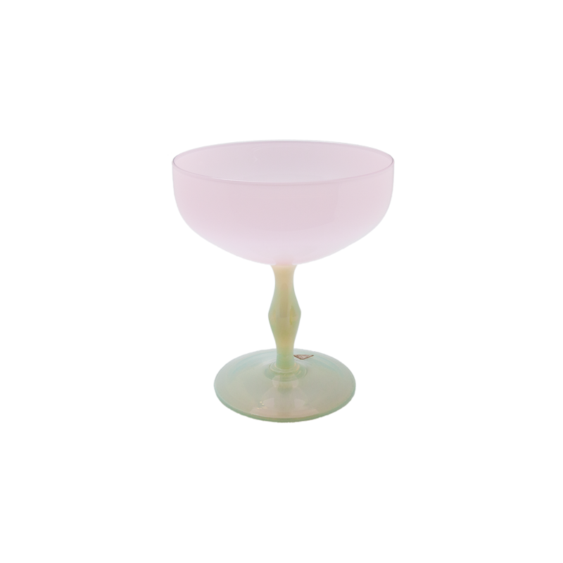 Opaline Glass Pink and White Compote