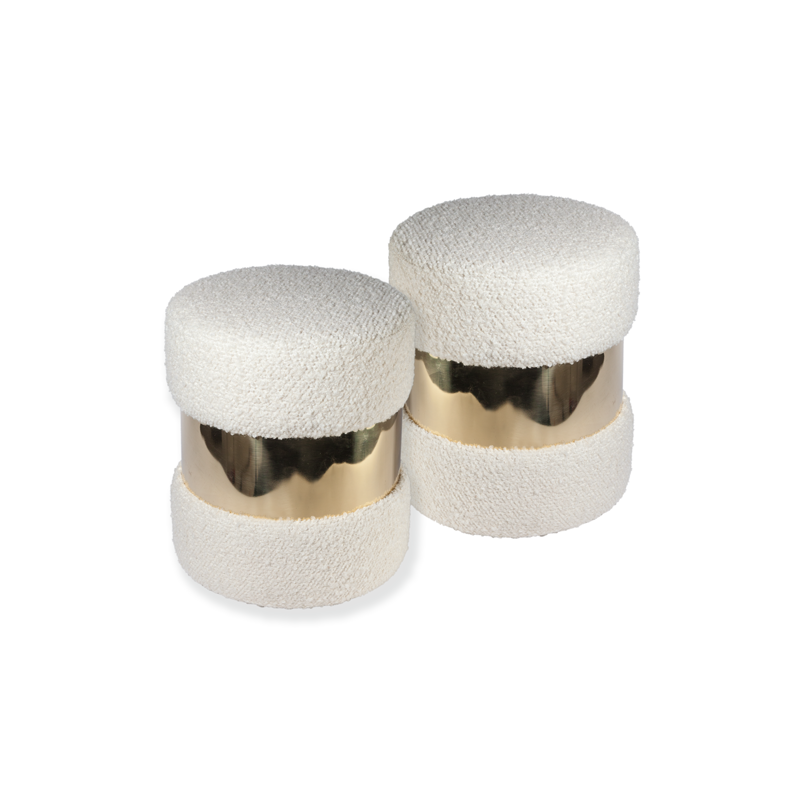 Pair of French White Wool Bouclé and Brass Poufs