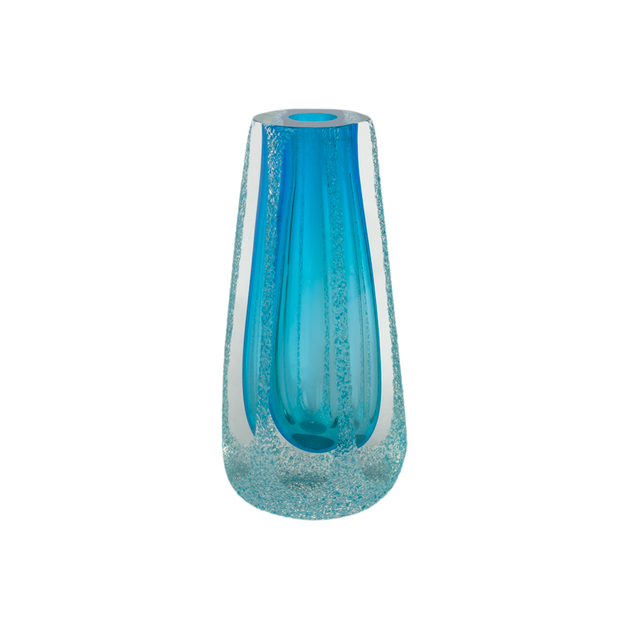 Aqua Hexagon Murano Vase