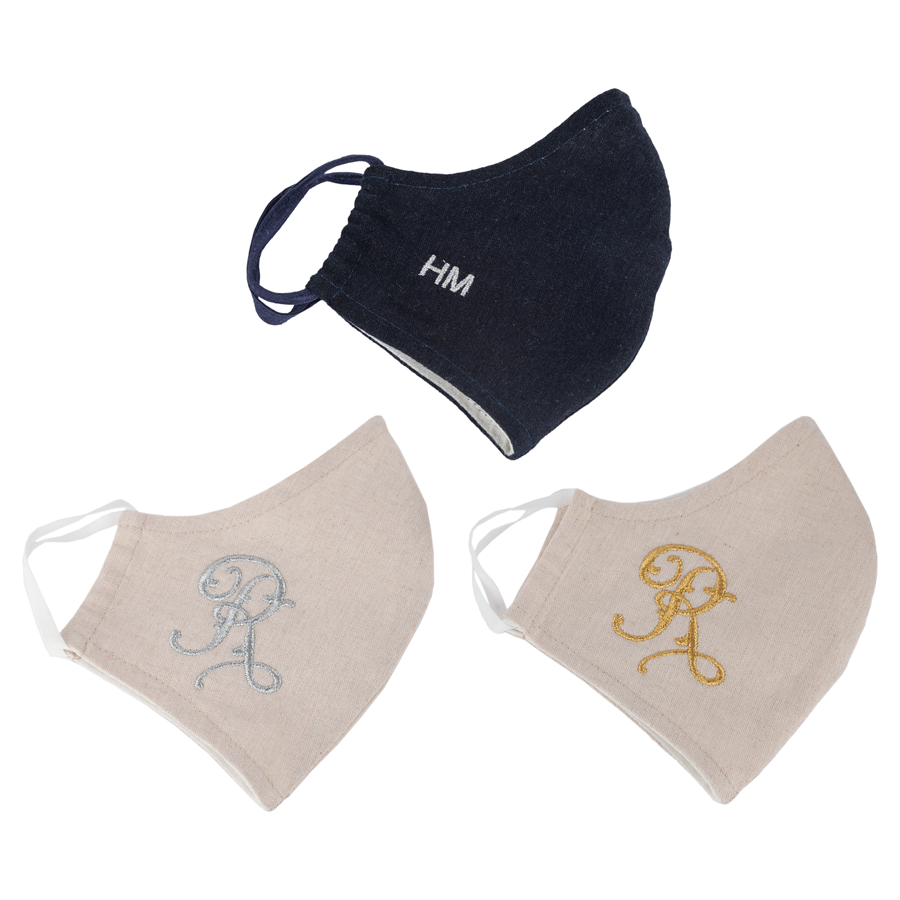 Monogram Linen Face Cover