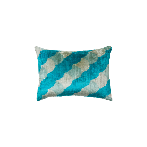 Vintage Silk Velvet Ikat Pillow - Medium Rectangle Turquoise/Silver