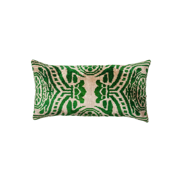Vintage Silk Velvet Ikat Pillow - Medium Rectangle Emerald green/Gold