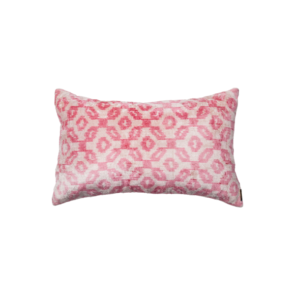Vintage Silk Velvet Ikat Pillow - Large Rectangle Light pink/Blush