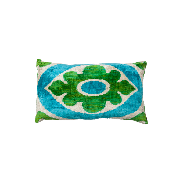 Vintage Silk Velvet Ikat Pillow - Medium Rectangle Flower Light Blue/Silver/Bright Green