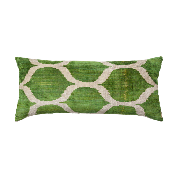 Vintage Silk Velvet Ikat Pillow - Large Rectangle Bright Green/Silver