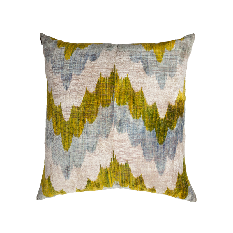 Vintage Silk Velvet Ikat Pillow - X Large Square Waves Light blue/Green/Silver
