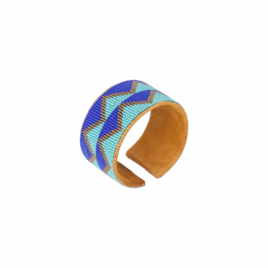 Hand Beaded Cuff - Zig Zag Stripe Turquoise/Copper
