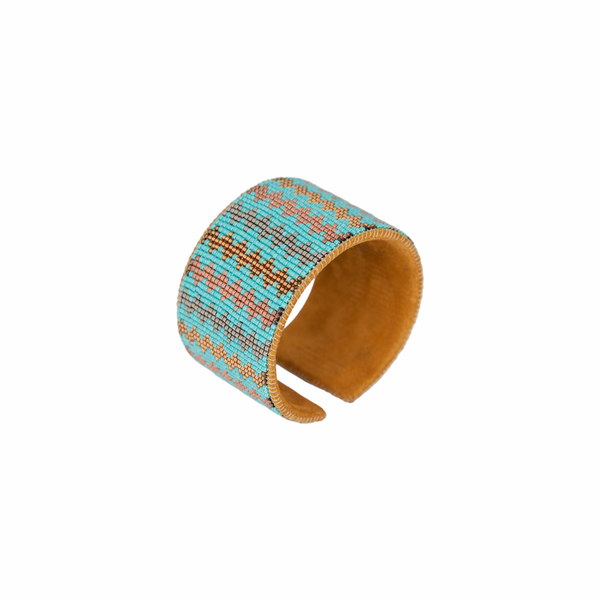 Hand Beaded Cuff -  Small Zig Zag - Turquoise/Copper/Silver