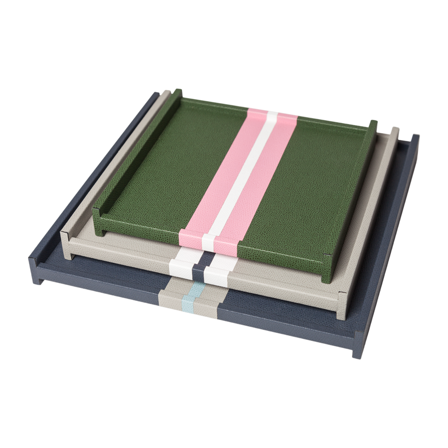 Square Striped Leather Tray by Giobagnara - Small - special order - 6 to 8 weeks for delivery