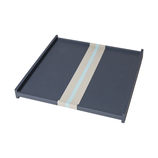 Square Striped Leather Tray - Large