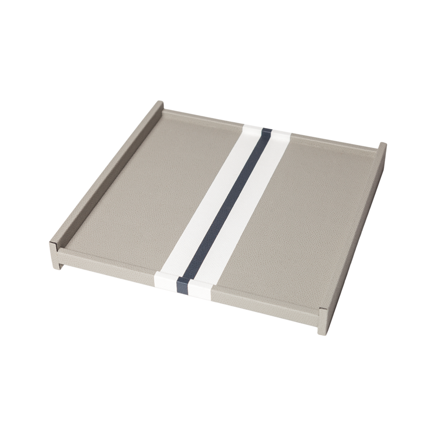 Square Striped Leather Tray - Medium