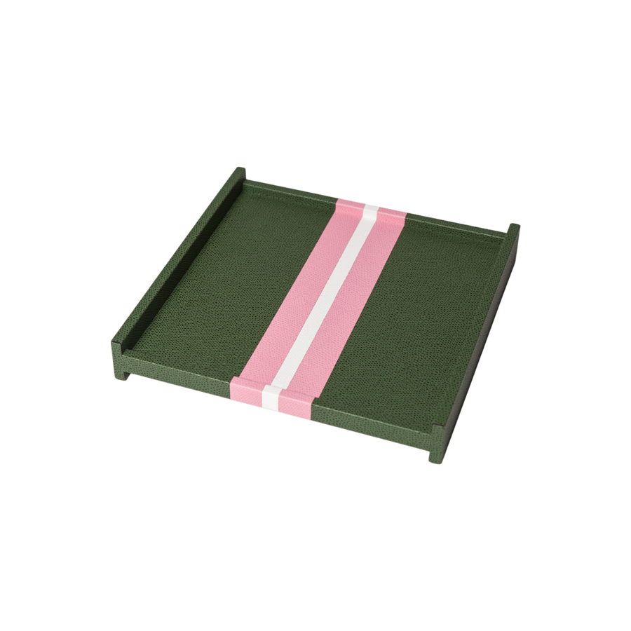 Square Striped Leather Tray - Small
