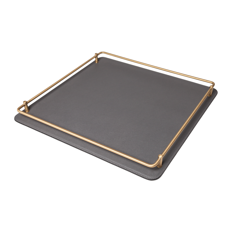 Square Rondo Leather Tray by Giobagnara - Medium - special order - 6 to 8 weeks for delivery