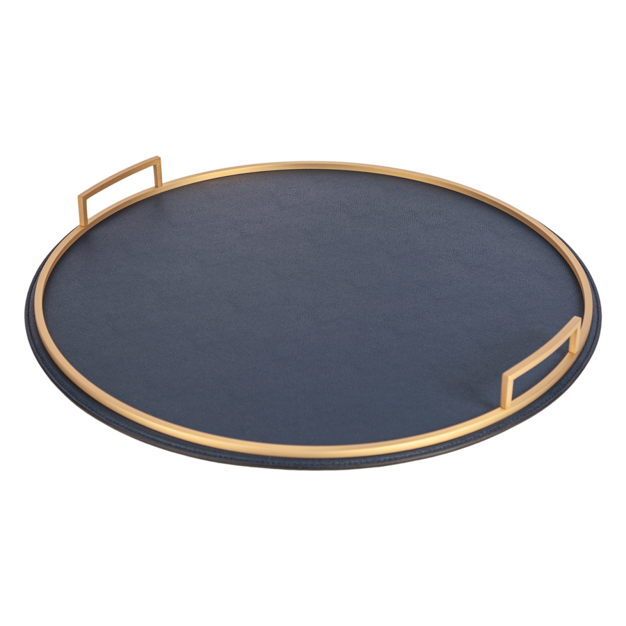 Round Handled Leather Tray - Large - special order - 6 to 8 weeks for delivery