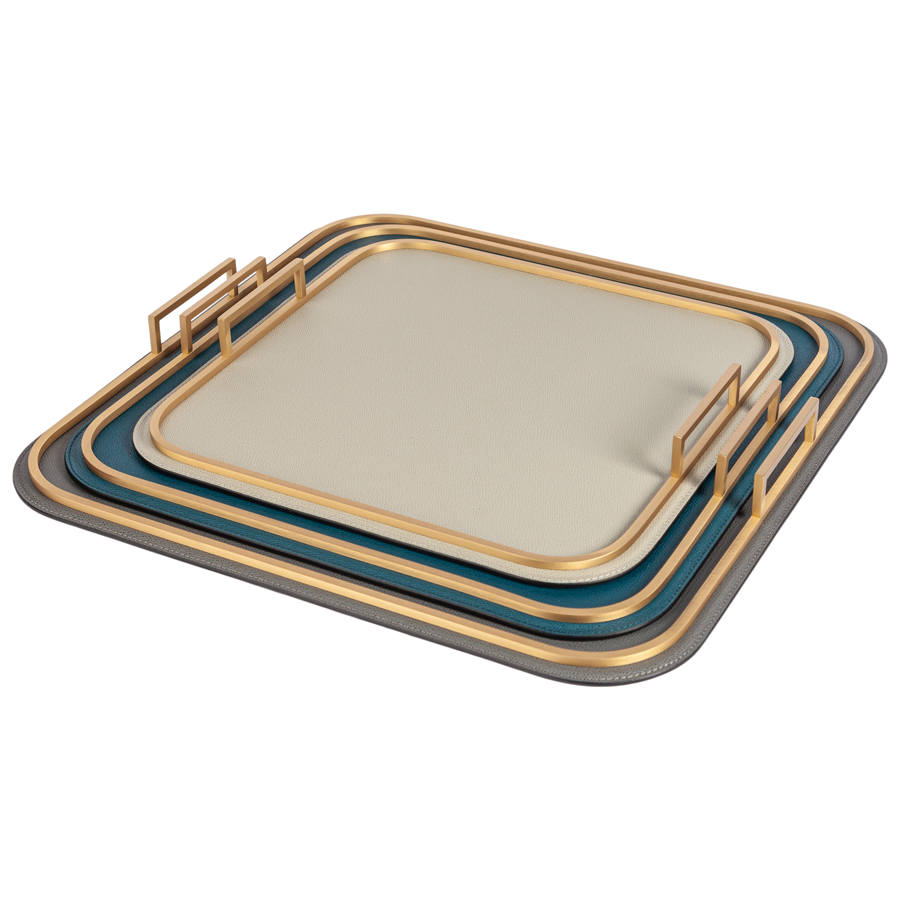 Square Bellini Leather Tray by Giobagnara - Medium - special order - 6 to 8 weeks for delivery