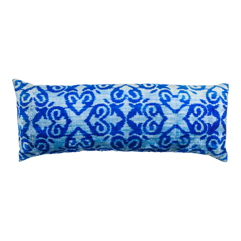Vintage Silk Velvet Ikat Pillow - X Large Rectangle Light Blue/Cobalt Blue