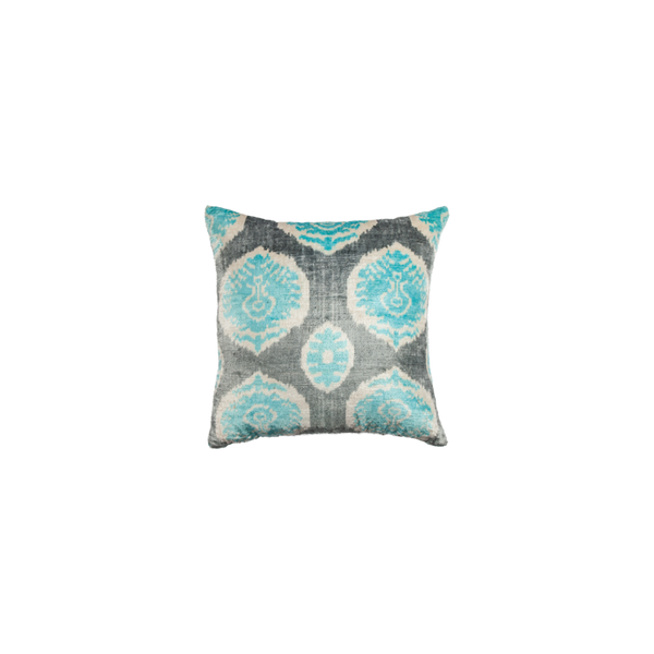 Vintage Silk Velvet Ikat Pillow - Small Square Dark Grey/Turquoise