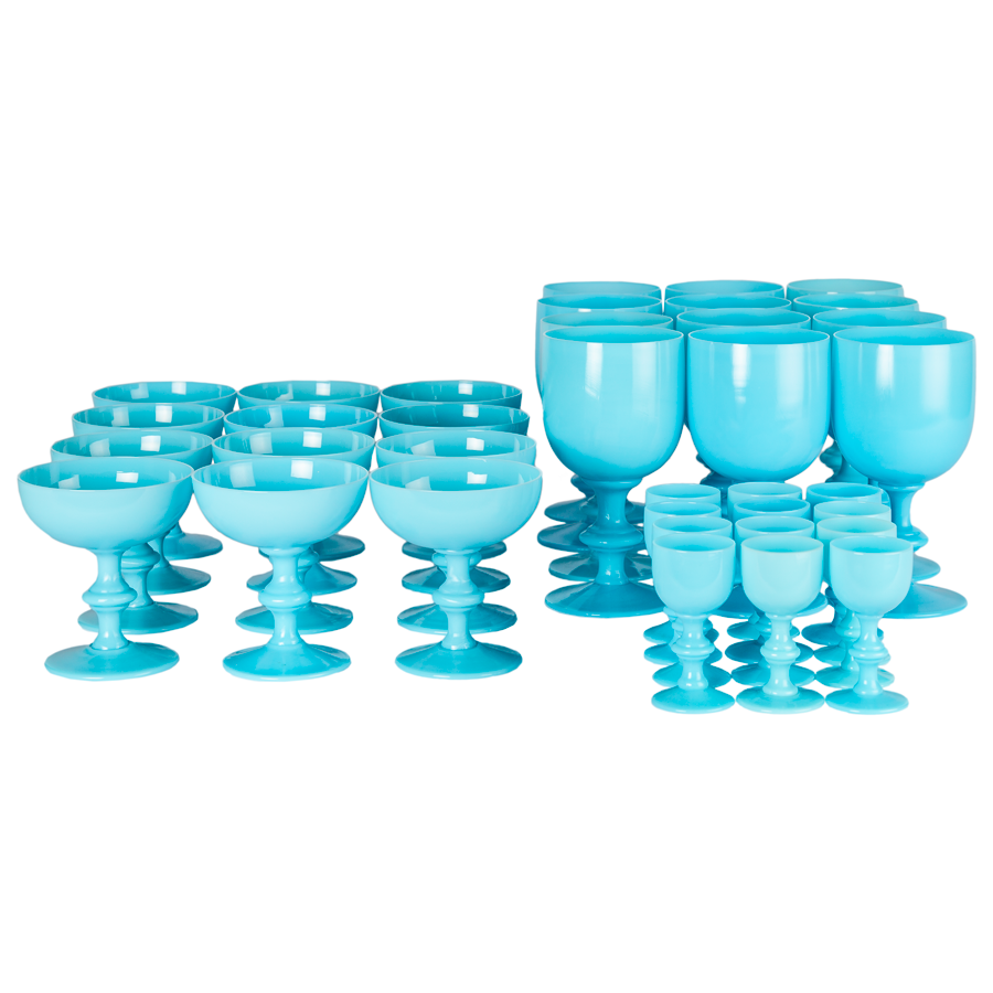 Wine, Champagne and Cordial Stemware -  Set of 36 French Portieux Vallerysthal  Blue Opaline
