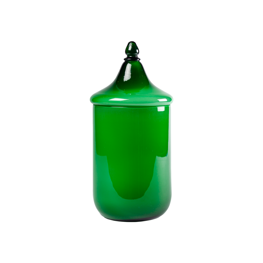 Carlo Moretti Large Green Cased Glass Canister
