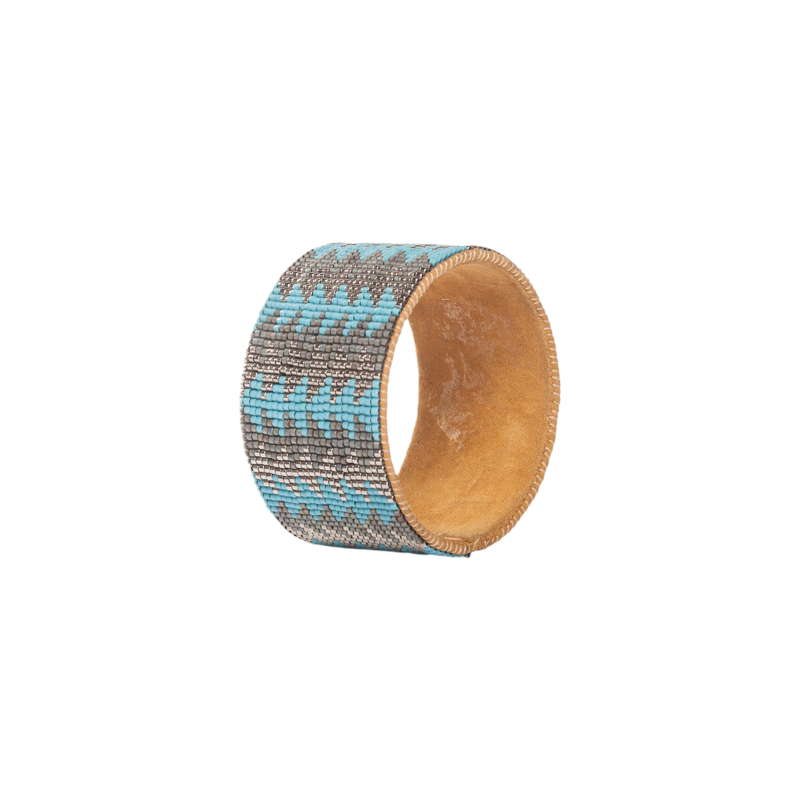 Hand Beaded Cuff - Arrow Turquoise/Dark Grey