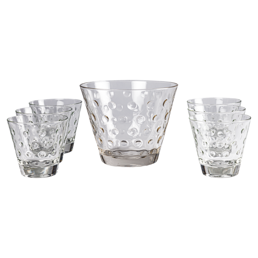 1960s Dot Cocktail Glasses and Ice Bucket - Set of 7