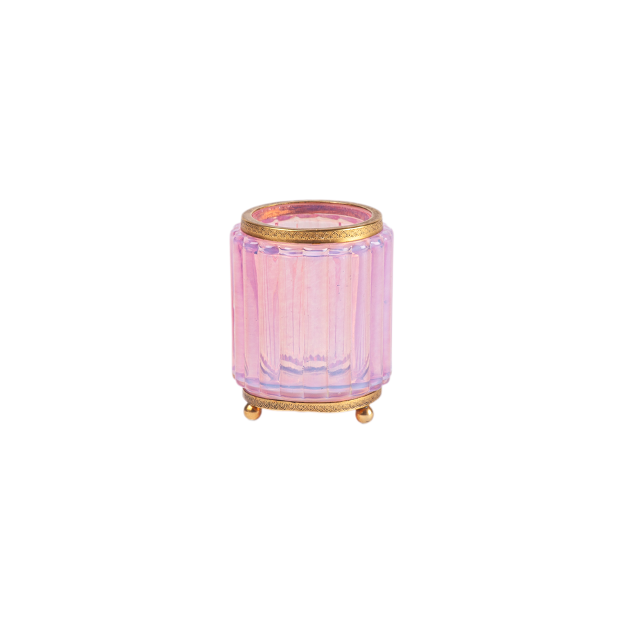 Opalescent Pink Glass Vase with Brass Details