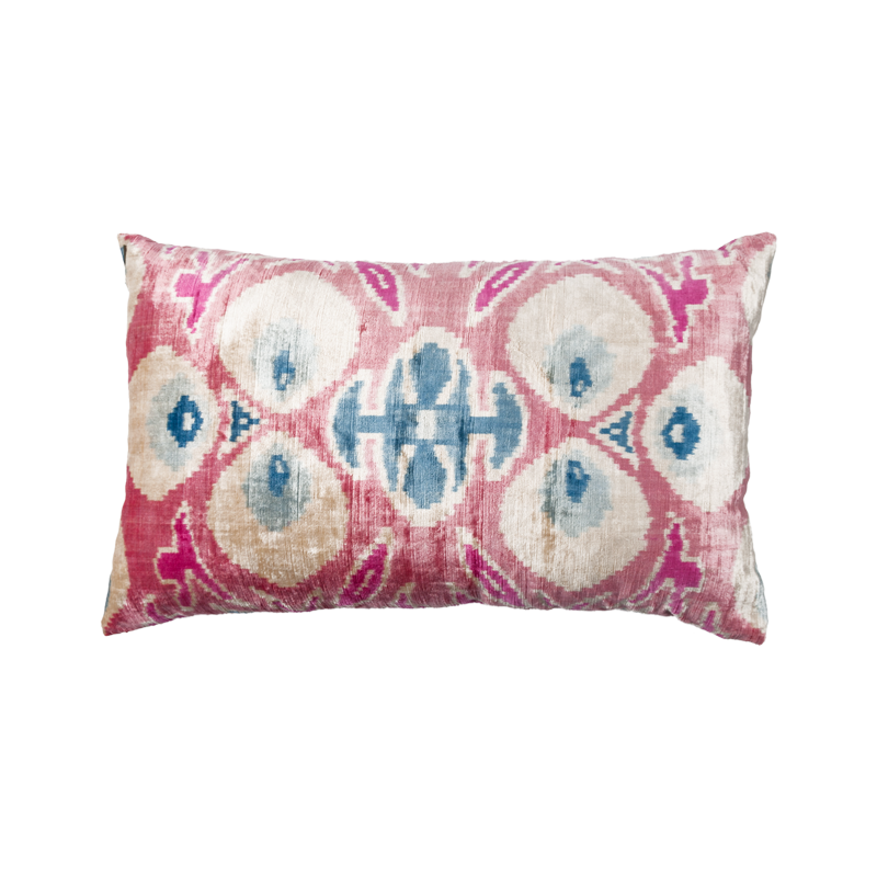 Vintage Silk Velvet Ikat Pillow -  Medium Rectangle Pink, White and Blue