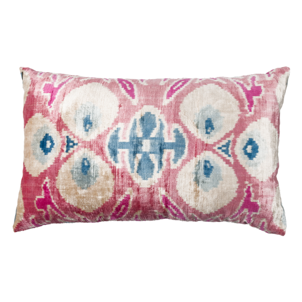 Vintage Silk Velvet Ikat Pillow - Large Rectangle Pink, White and Blue