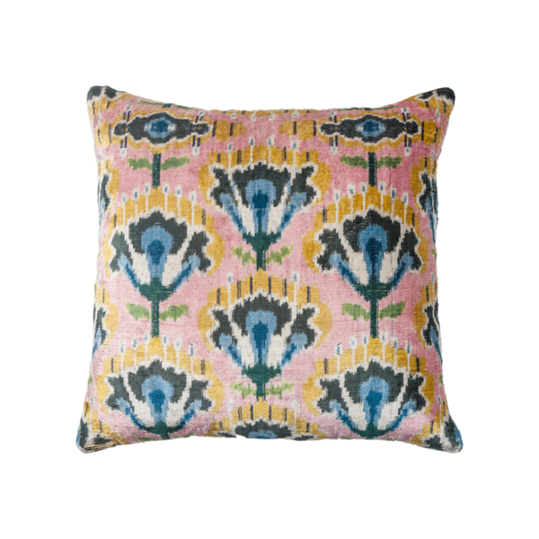 Vintage Silk Velvet Ikat Pillow - Large Square Pink Flower