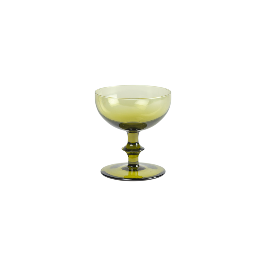 Olive Green Champagne Coupes - Set of 6