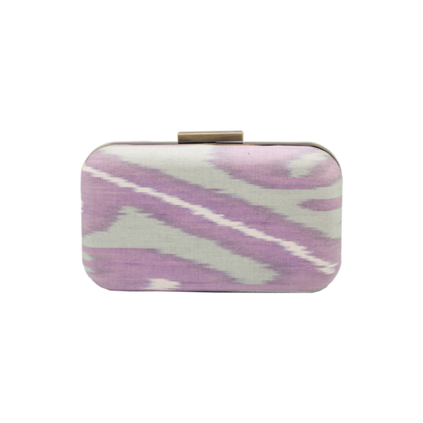 Silk Ikat Brass Clutch - Large Rectangular - Light Pink/Grey/White