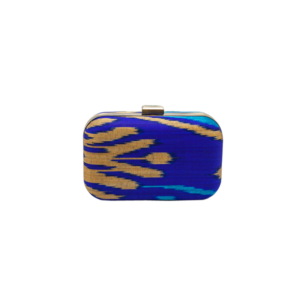 Silk Ikat brass clutch - Small - Navy/Gold/Turquoise