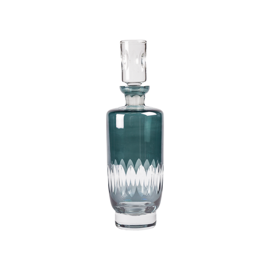 Smoked Gray Cut Crystal Clear Decanter