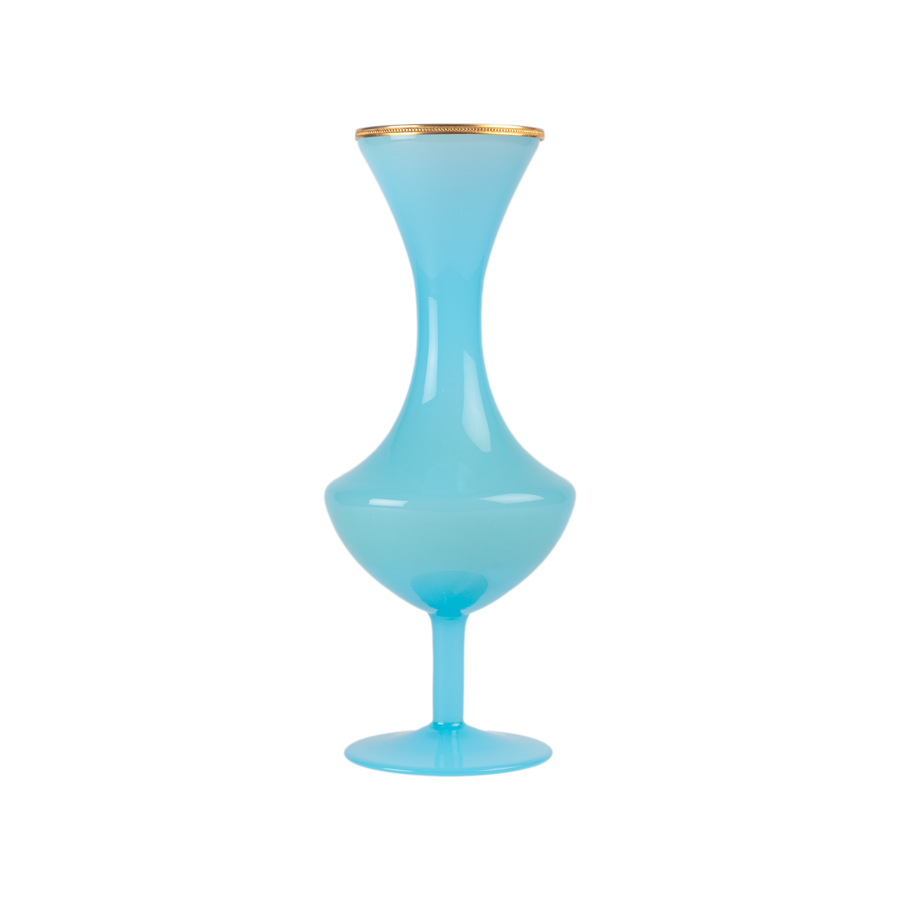 Blue Opaline Vase with Brass Details