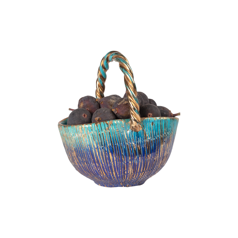 Aldo Londi Bitossi Turquoise and Gold Seta Basket
