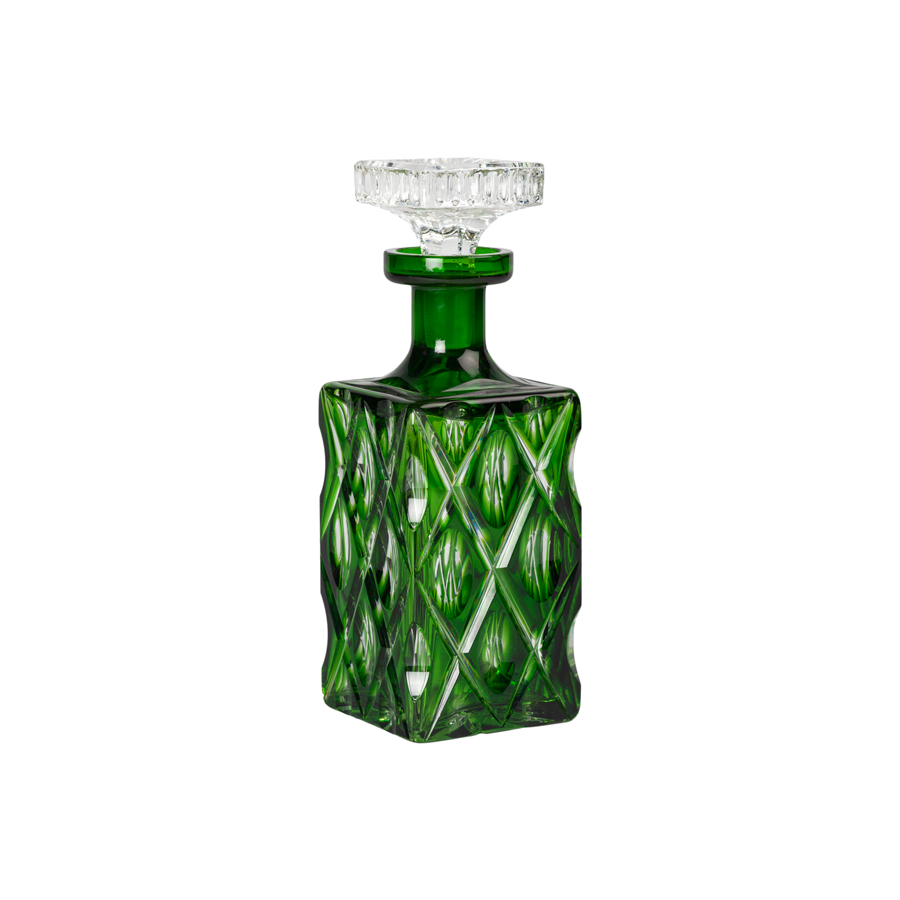 Parakeet Green Cut Crystal Decanter