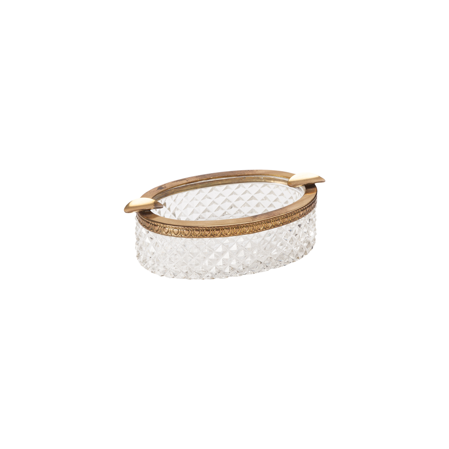 Cut Crystal and Brass Oval Ashtray