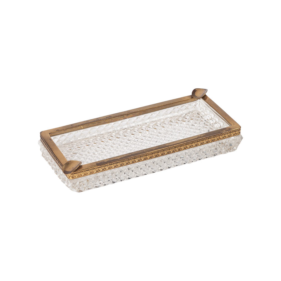 Cut Crystal and Brass Ashtray