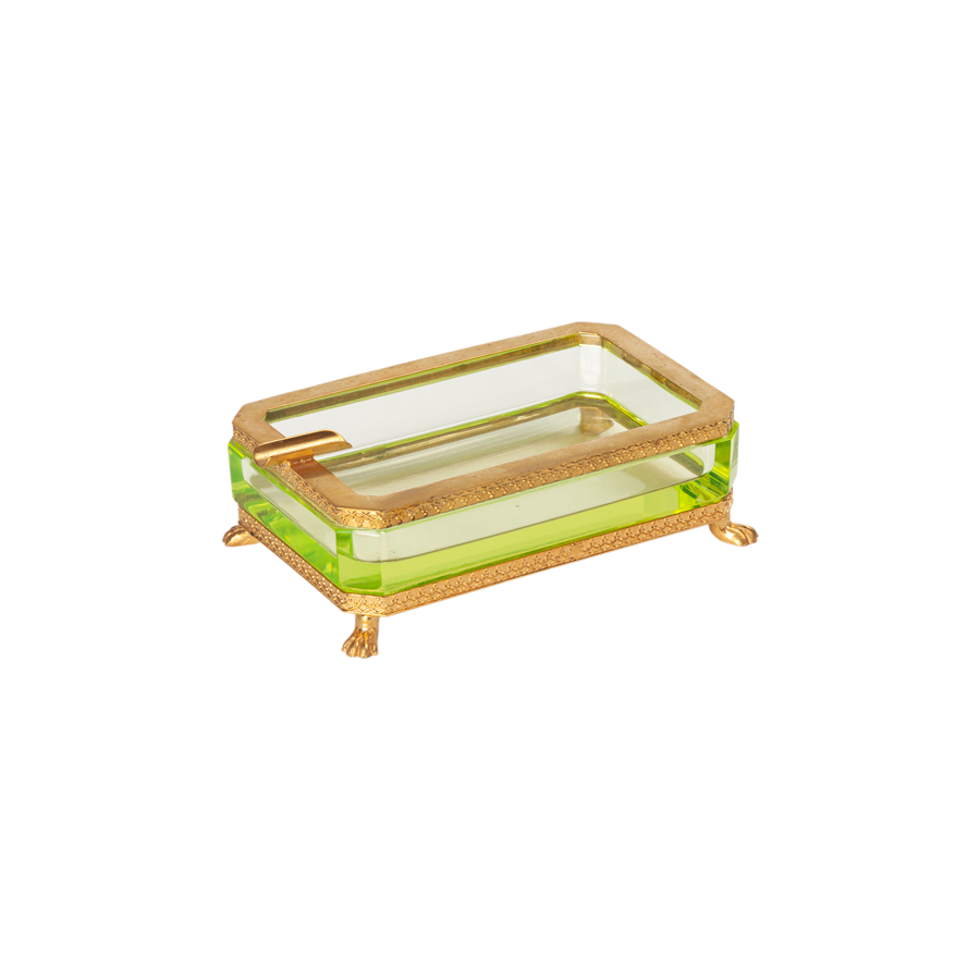 Chartreuse Ashtray with Brass Trim