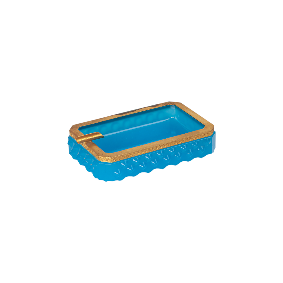 Turquoise Opaline Ashtray with Gold Trim