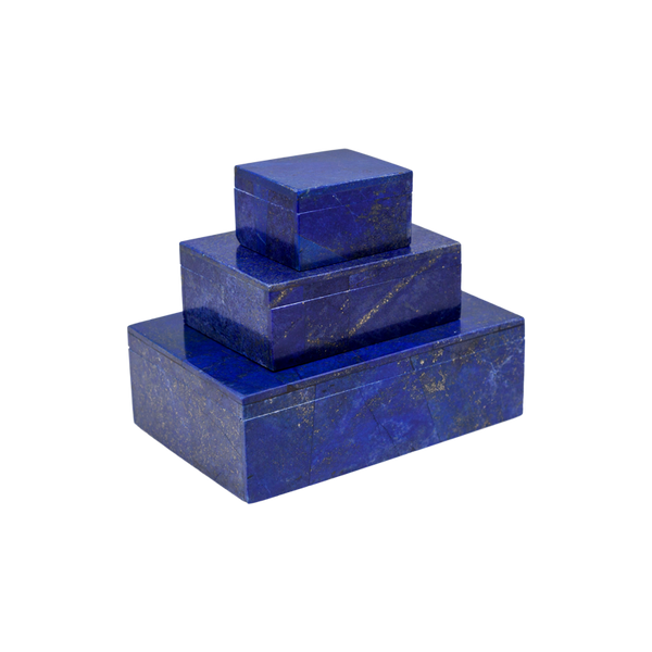 Set of 3 Lapis Lazuli Rectangular Boxes