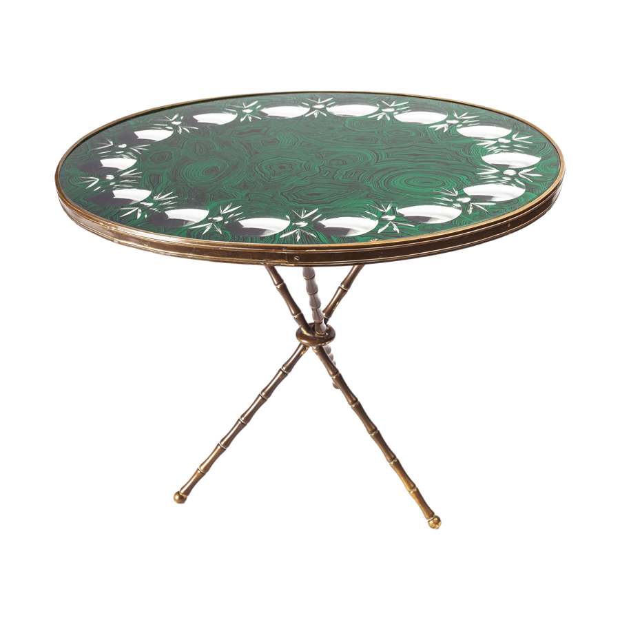 Fornasetti Faux Malachite Cocktail Table