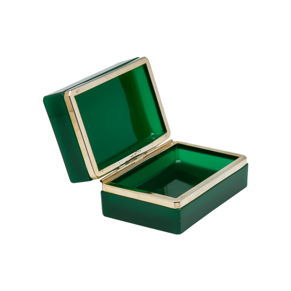 Green Murano Glass Hinged Box - Vintage