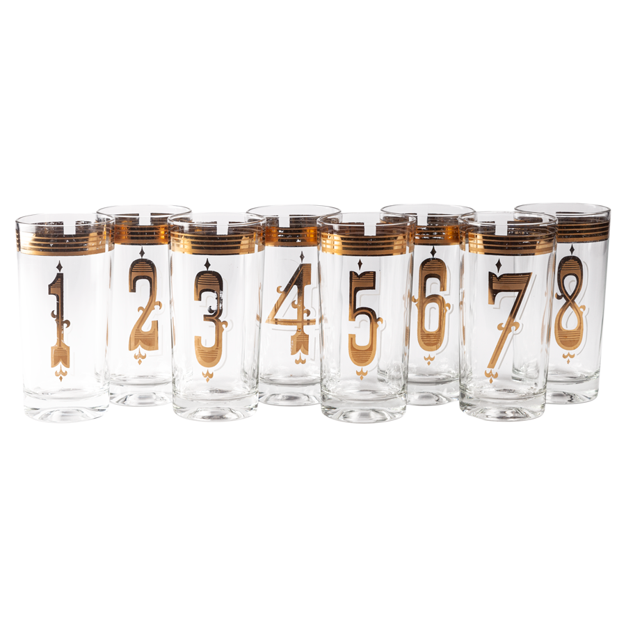 Numbered Highball Glasses - Set of 8