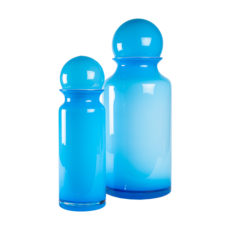 Extra Large Blue Cased Glass Canisters - Set of 2